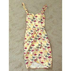 Fairy Flamingo print Collectif dress size UK10 S